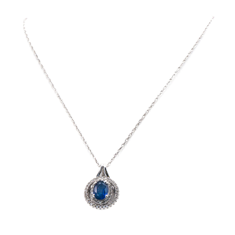 14K White Gold Pendant Necklace with Sapphire