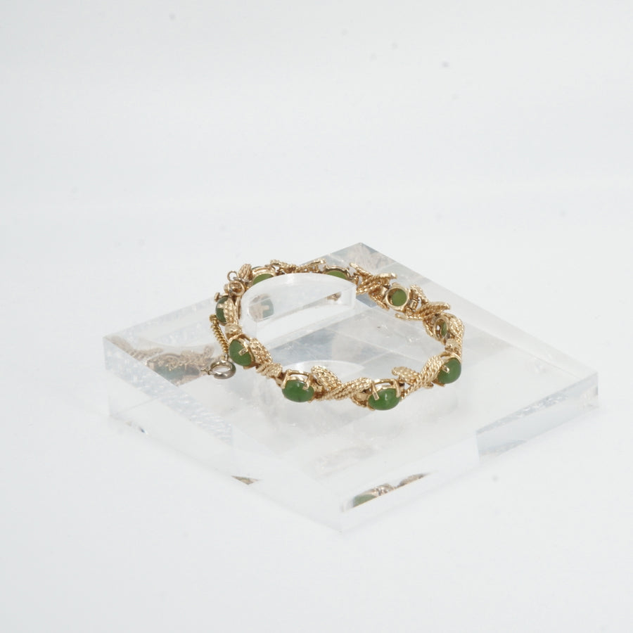 14K Gold Oval Green Jade And X Rope Link Tennis Bracelet