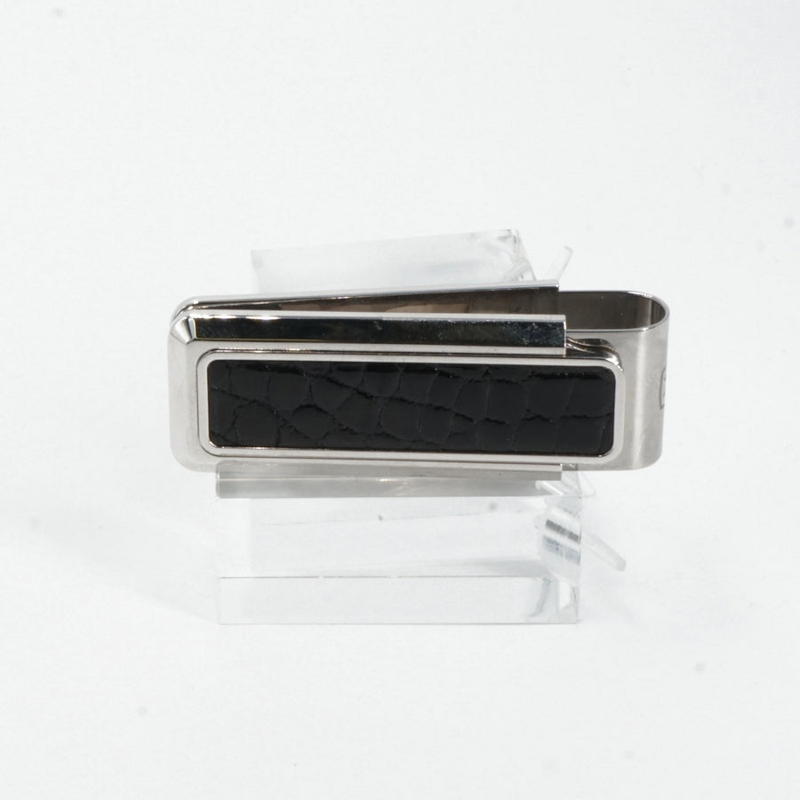 Monterey Rhodium Black Alligator Money Clip