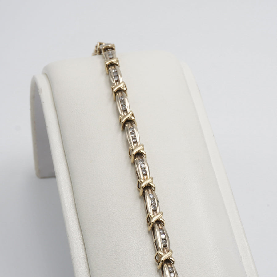 Yellow Gold Diamond Bracelet W/ Bar Links