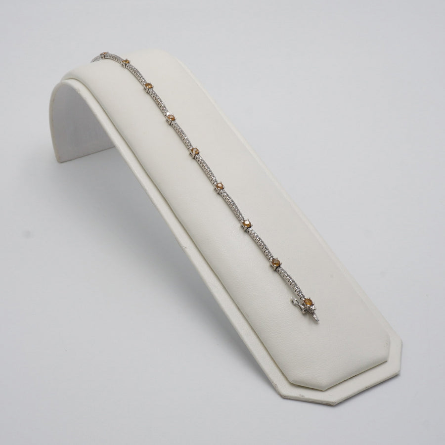 White Gold Diamond Tennis Bracelet W/ Yellow Gold Stones