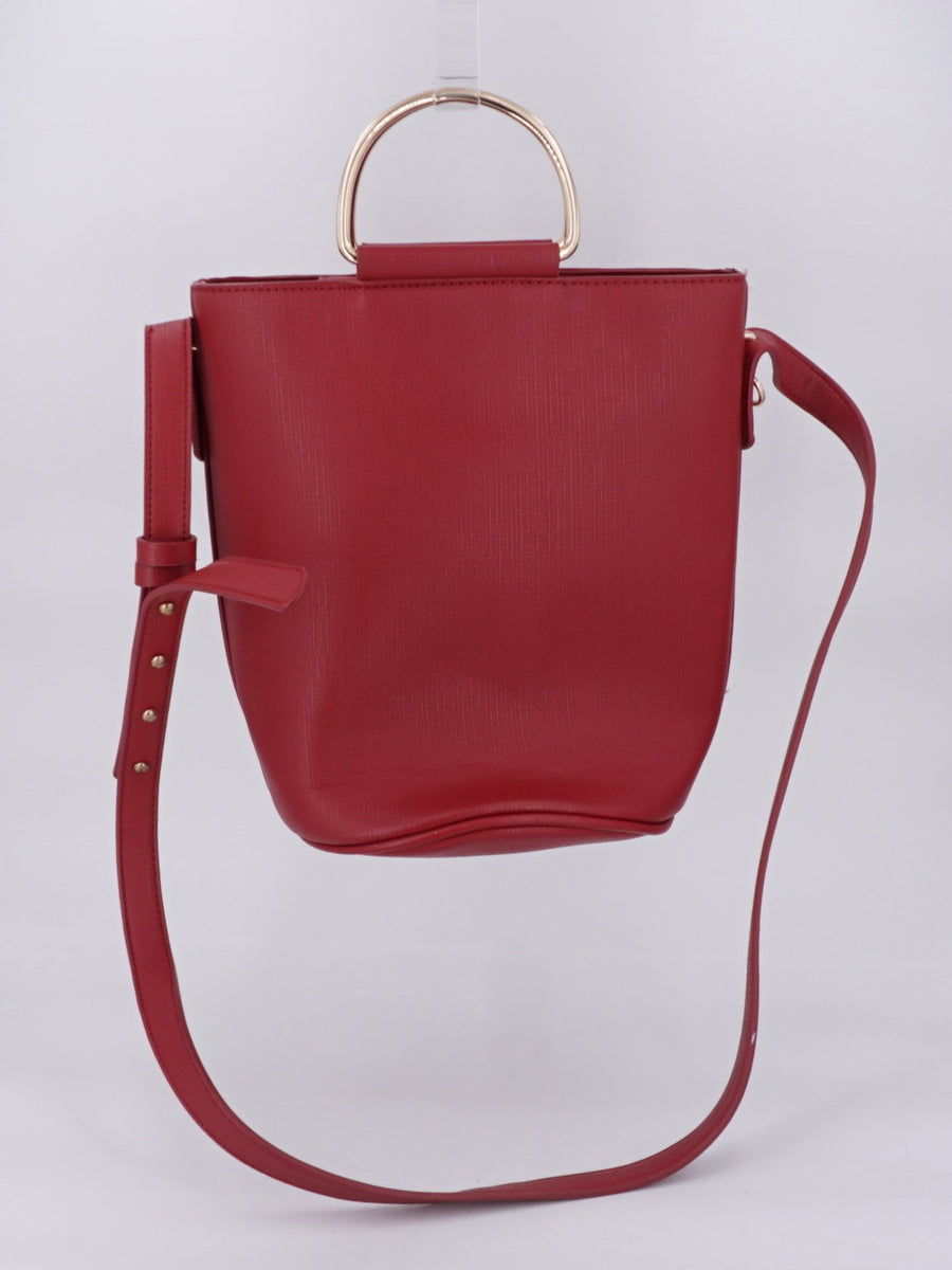 Red Faux Leather Bucket Handbag