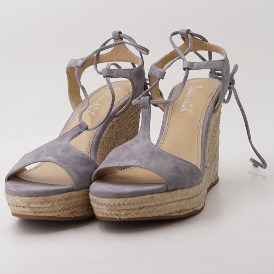 Fianna Grey Suede Lace-Up Espadrille Wedges - Size 10