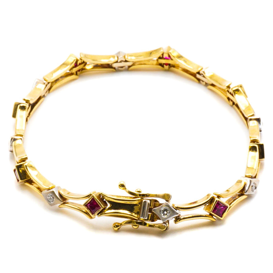 Yellow Gold Open Space Bar Link Bracelet W/Rubies and Diamonds