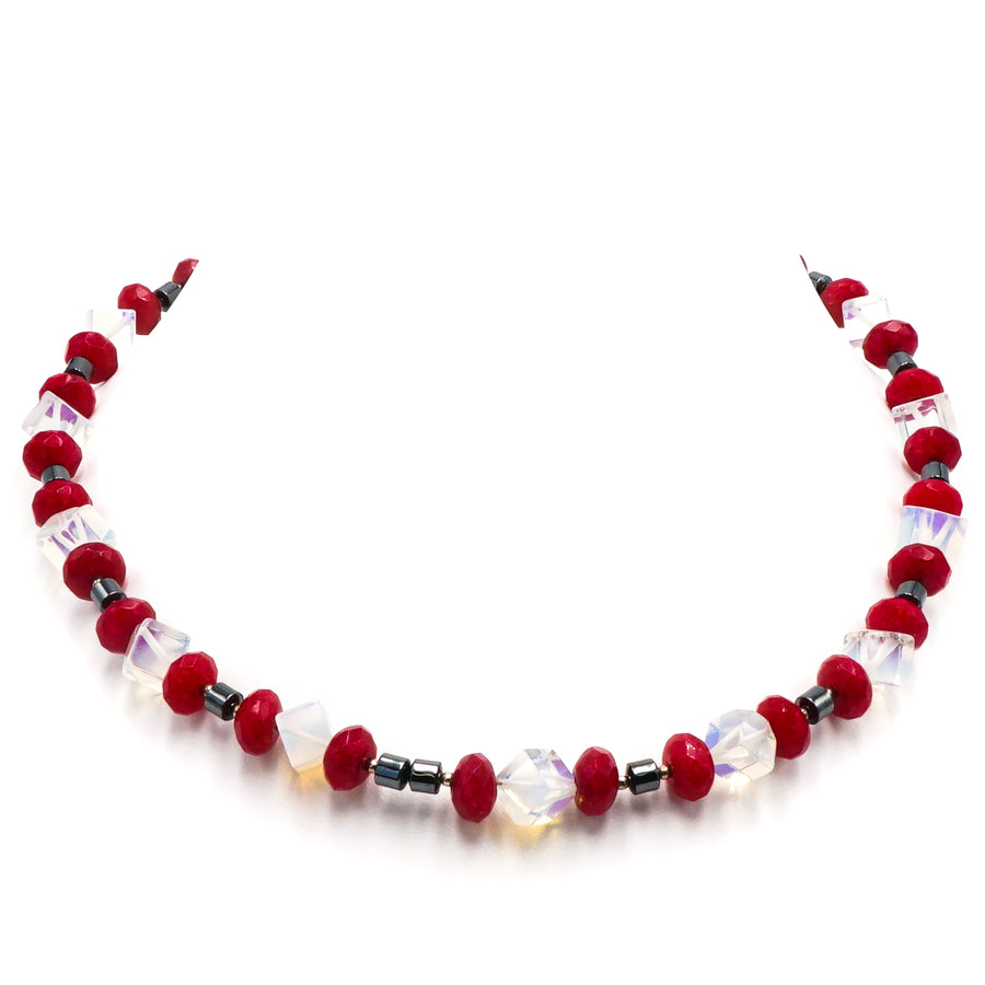 Red and Clear Beaded Necklace