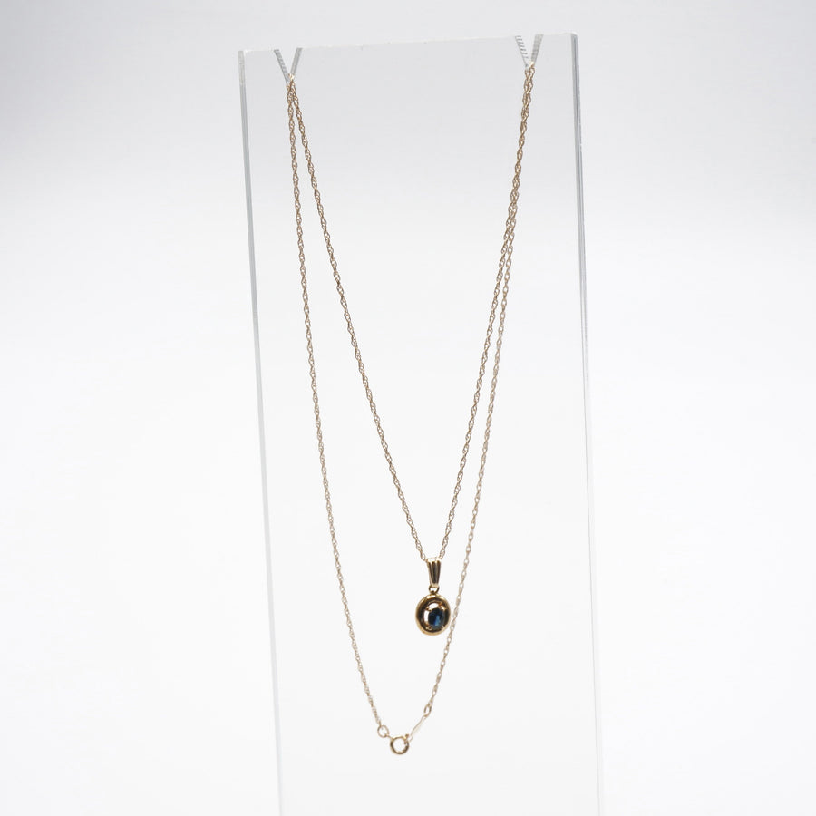 Yellow Gold Petite Sapphire Pendant Necklace