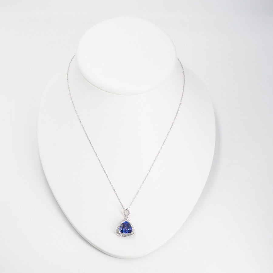 14K White Gold Tanzanite and Diamond Pendant Necklace