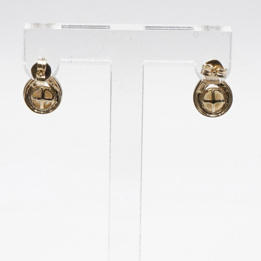 10K Yellow Gold Stud Earrings with Freshwater Pearl Stone