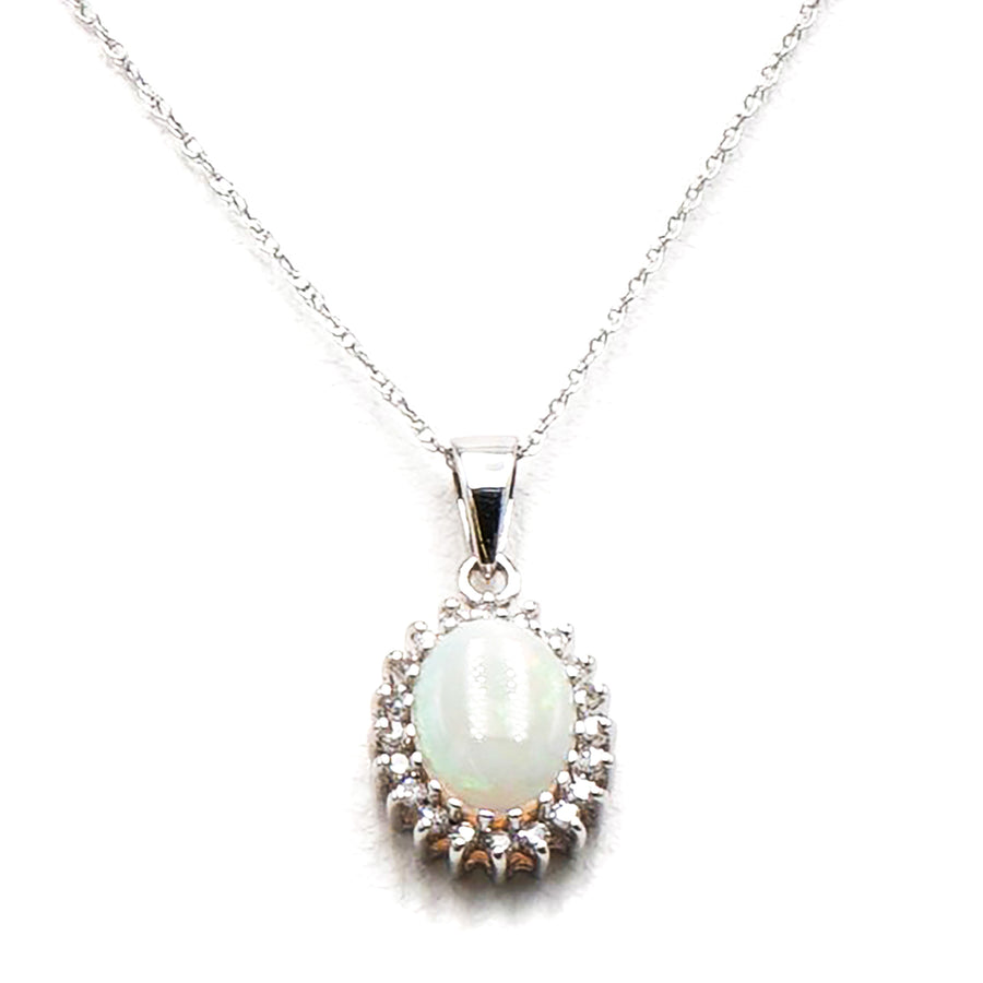 10K White Gold Necklace with Oval Opal Stone Surrounded By CZ Stones