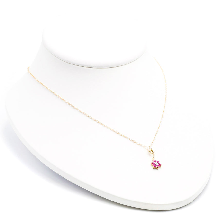 14K Yellow Gold Necklace with Ruby Flower Cluster Pendant