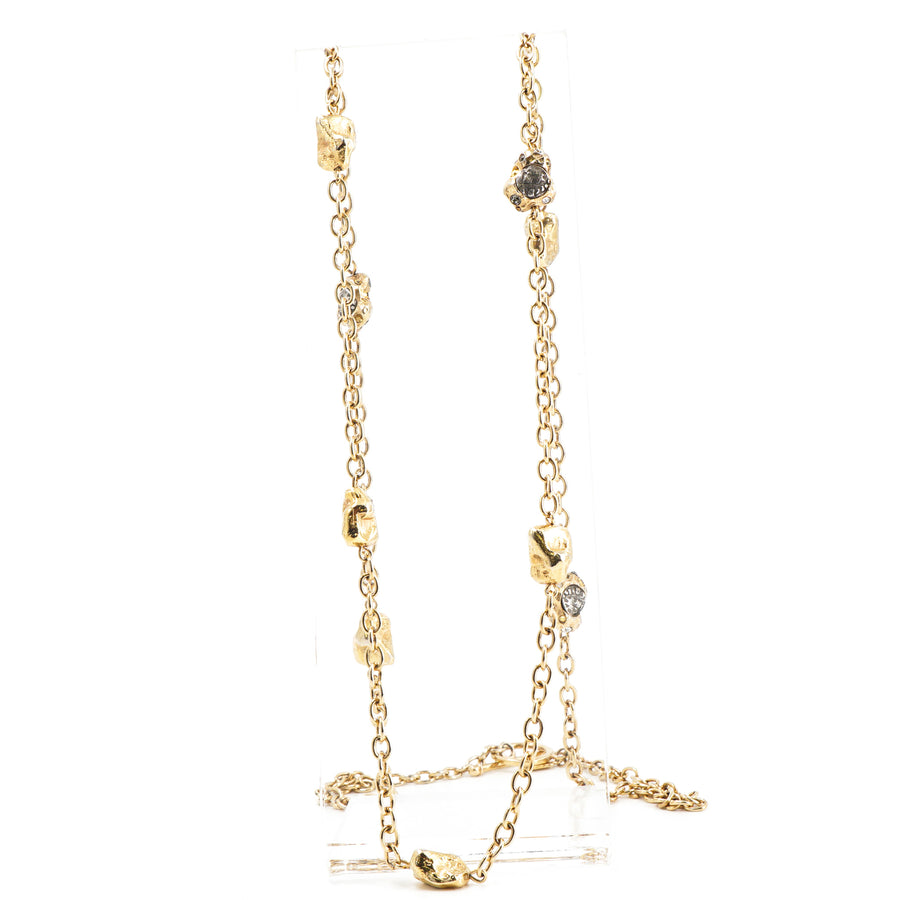 Long Gold Tone Necklace W/Coins and Crystals