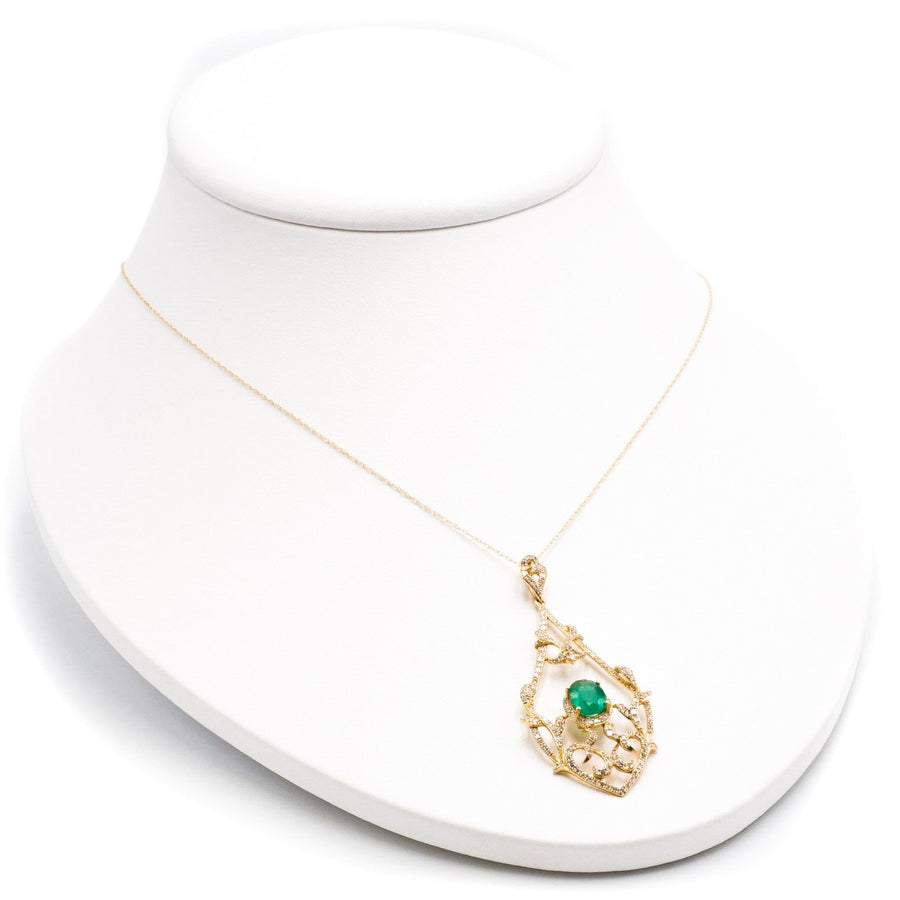 Oval Emerald Necklace W/ Diamond Pear-Shaped Pendant