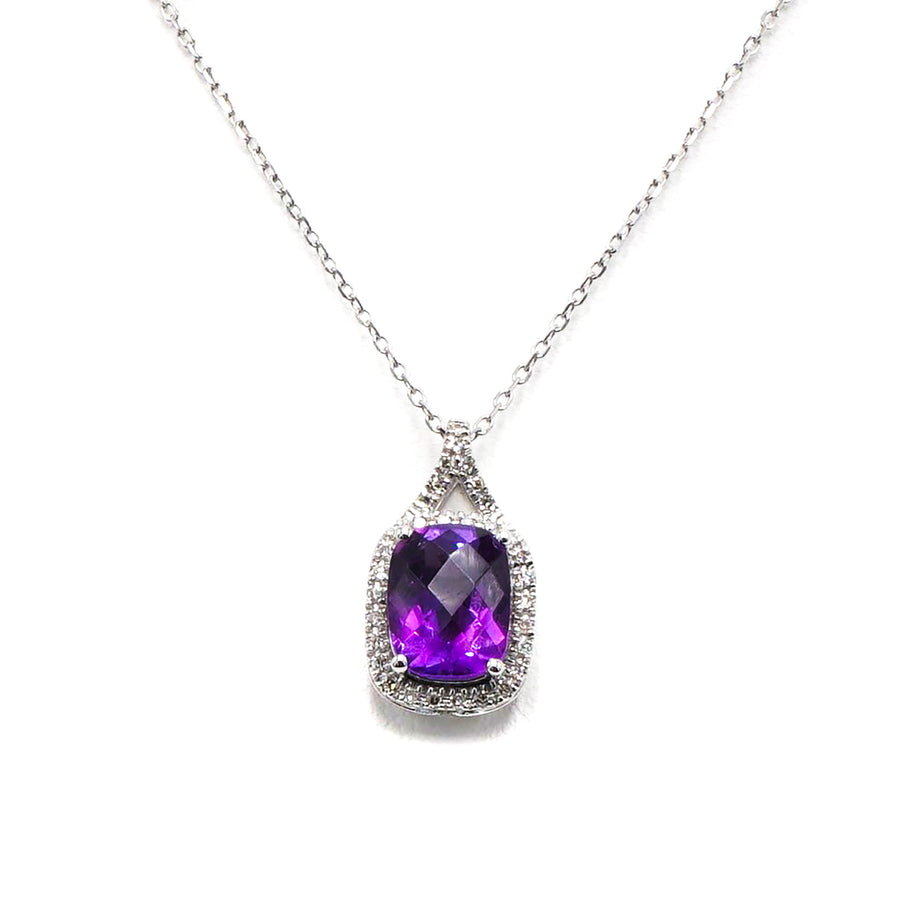 14K White Gold Necklace Ft. Amethyst Stone