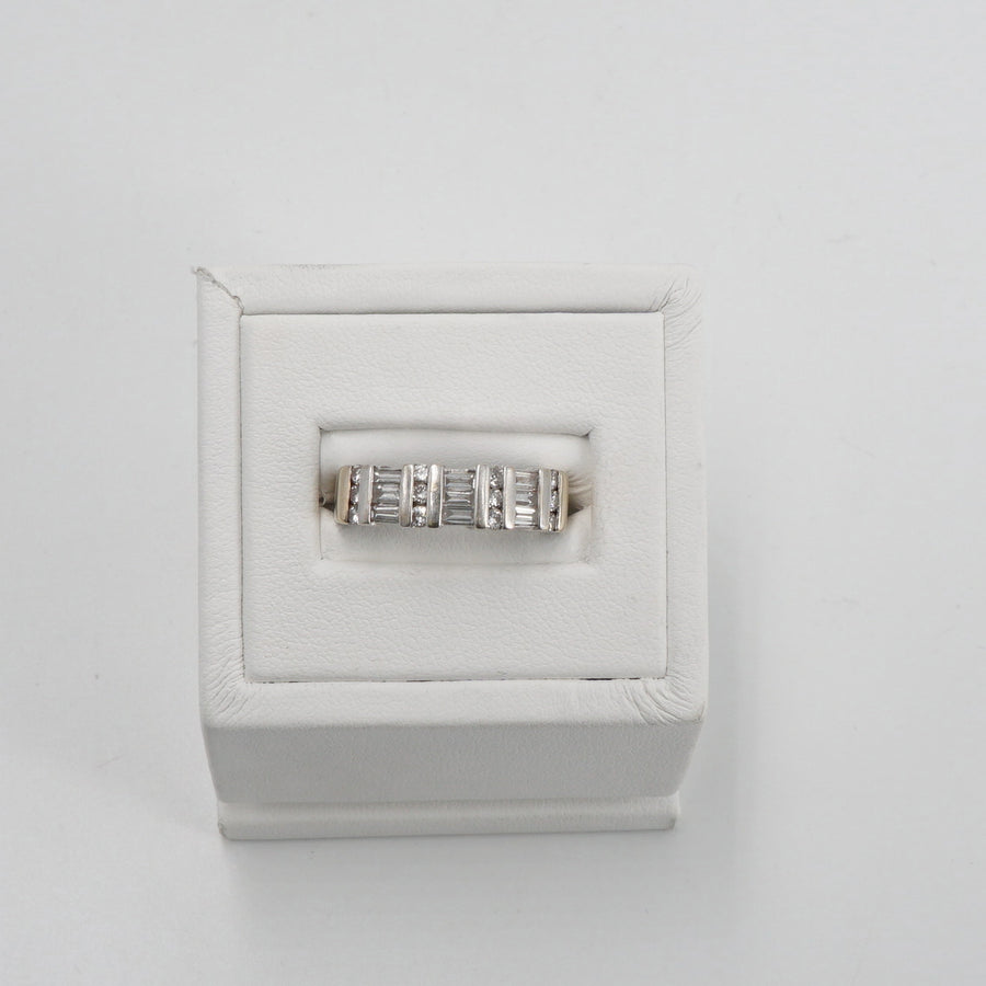 18K Round and Baguette Diamond Band Size 8