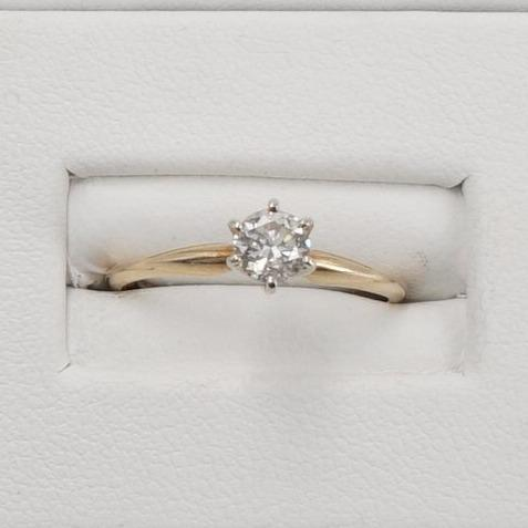 14K Yellow Gold Diamond Engagement Ring Size 6.5