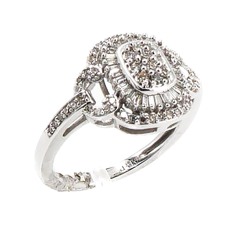 10K Baguette and Round Diamond Ring Size 7