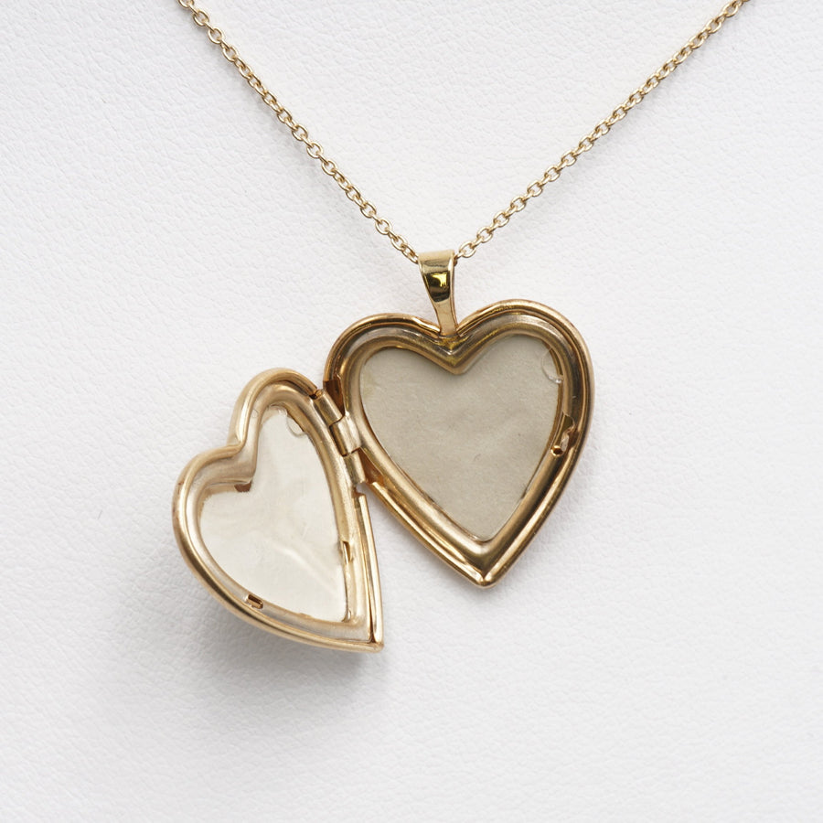 Yellow Gold Necklace W/Mother and Child Heart Pendant