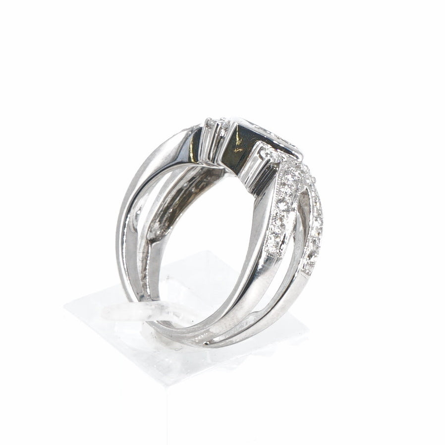 18K Split Shank Band with Princess Cut and Round Diamonds - Size 6