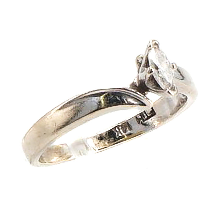 14K Small Marquise Diamond Ring Size 5.5