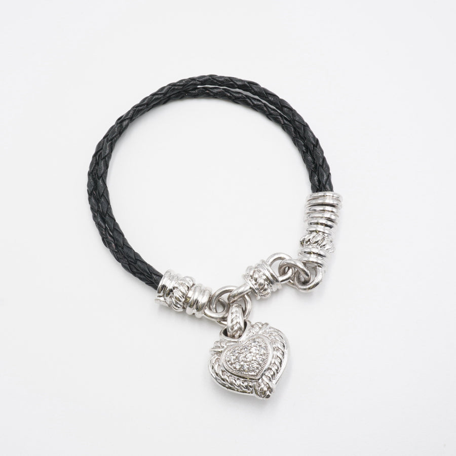 Black Leather Braided Cord Bracelet W/Heart Charm Sterling Diamonique