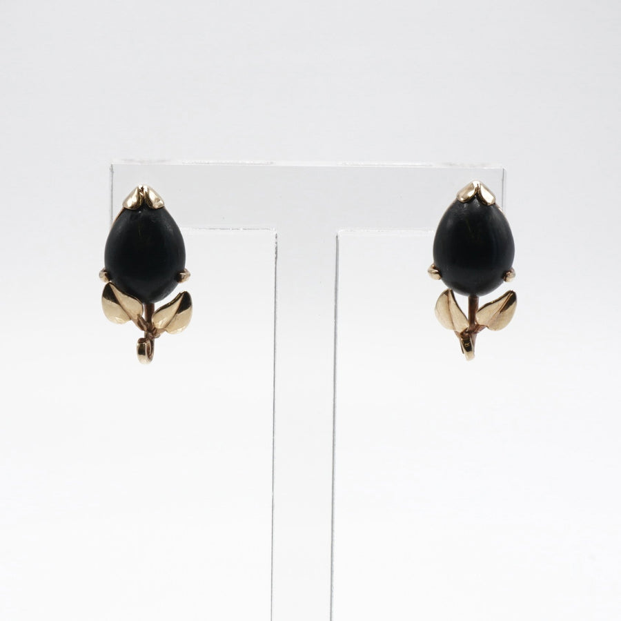 Yellow Gold Black Coral Earrings