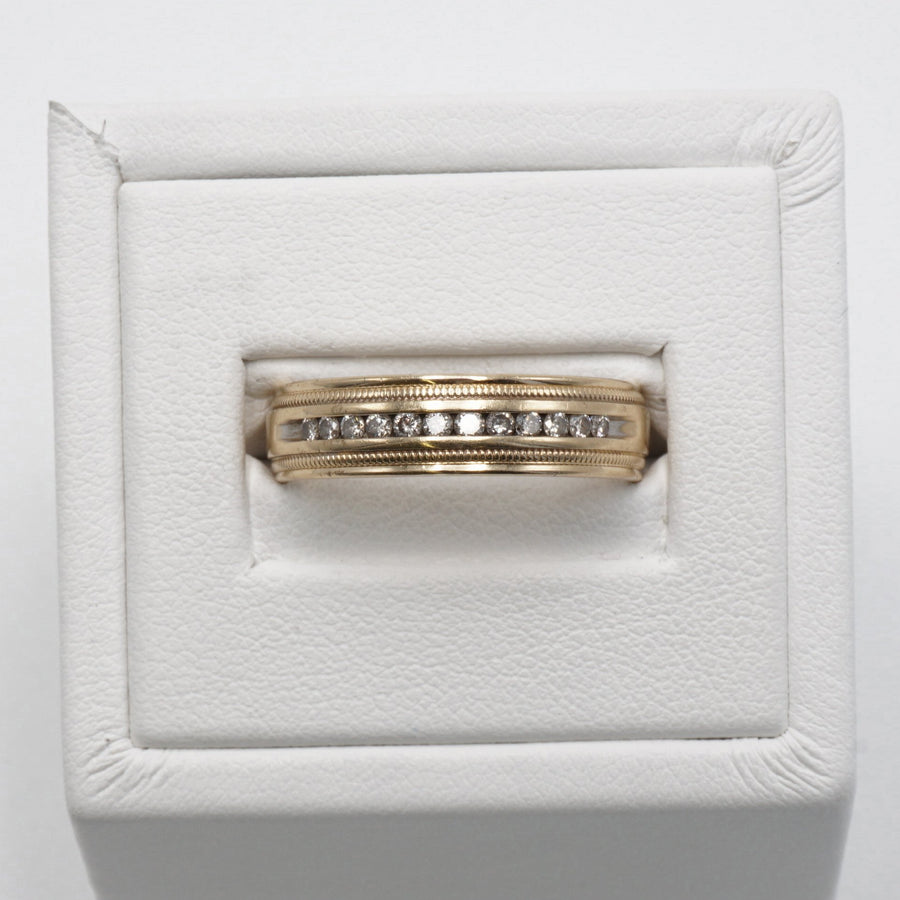 Yellow Gold Melee Diamond Ring W/Milgrain Band Size 10.5