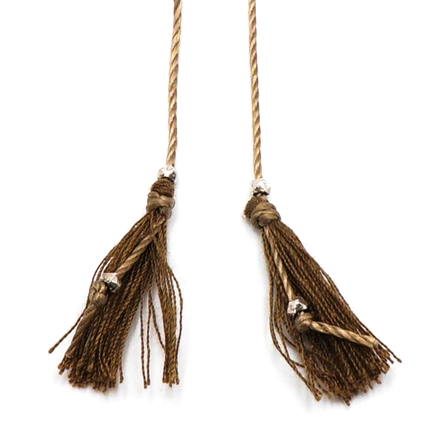 Long Brown Tassel Necklace with Silver Round Beads