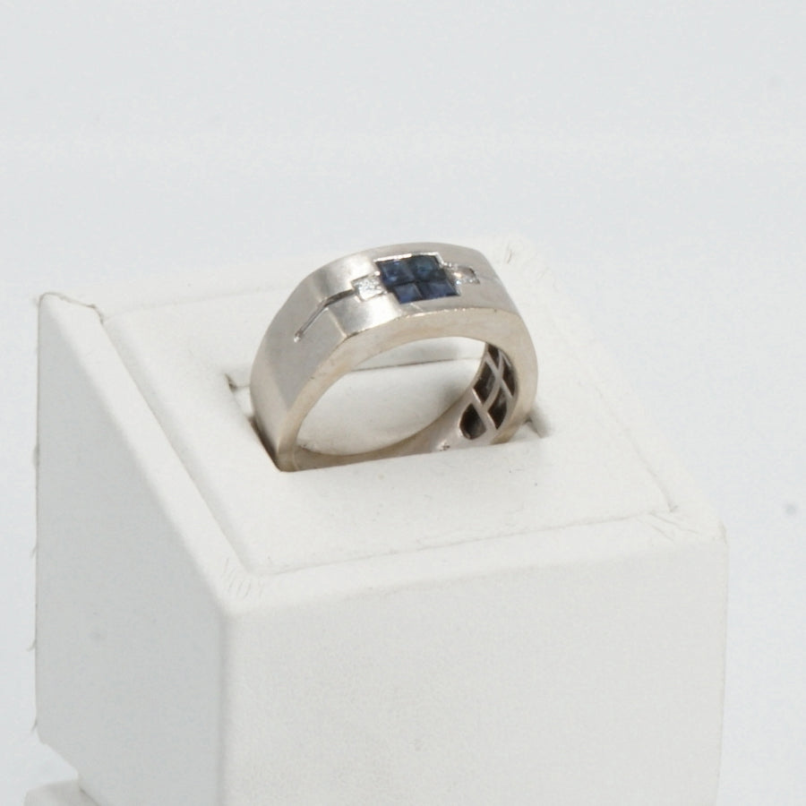 14K White Gold Blue Stones With Diamond Ring - Size 9