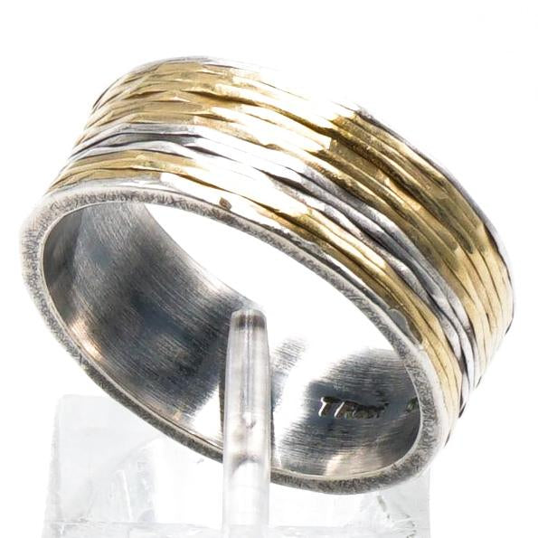 Mixed Silver and 18K Gold Band
