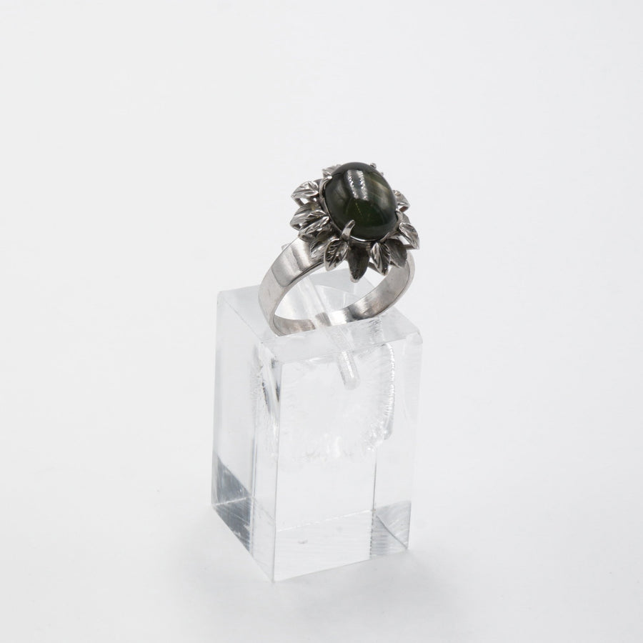 White Gold Flower Ring W/Dark Green Stone