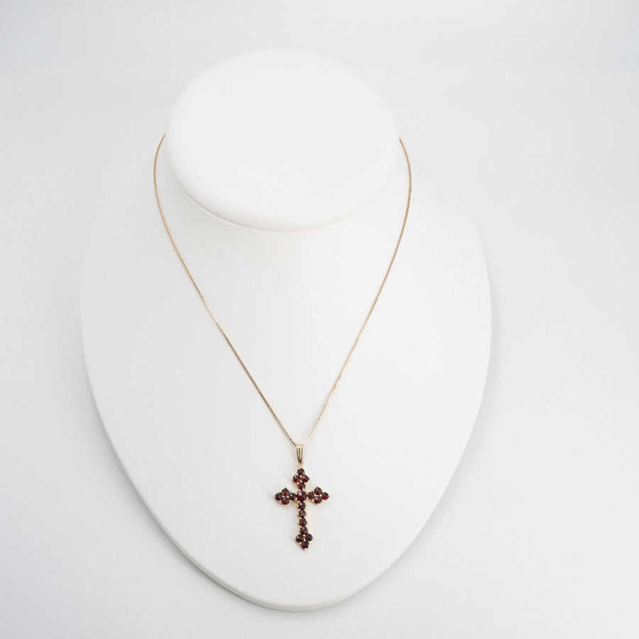 14K Vintage Garnet Cross Pendant Necklace