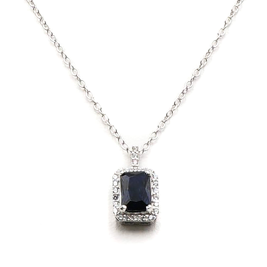 Sterling Silver Necklace With Blue Stone In Center Surrounded By CZ Stones