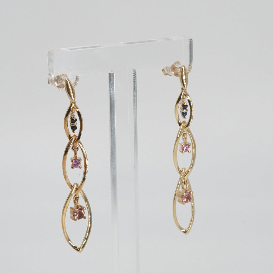 Blue and Pink Sapphire Three Link Dangle Earrings