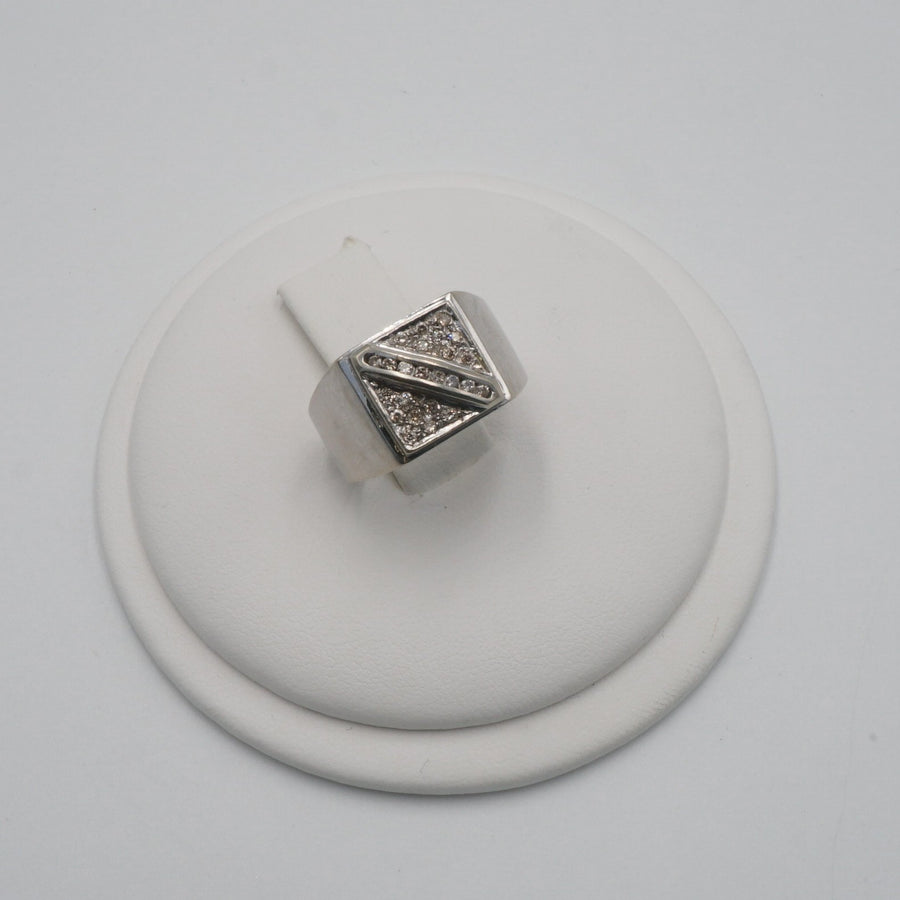 Square Diamond Signet Style Ring Size 10
