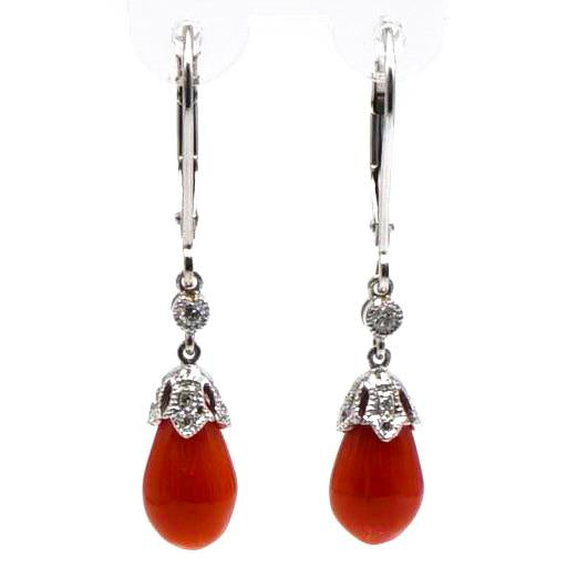 White Gold Coral and Diamond Dangle Earrings