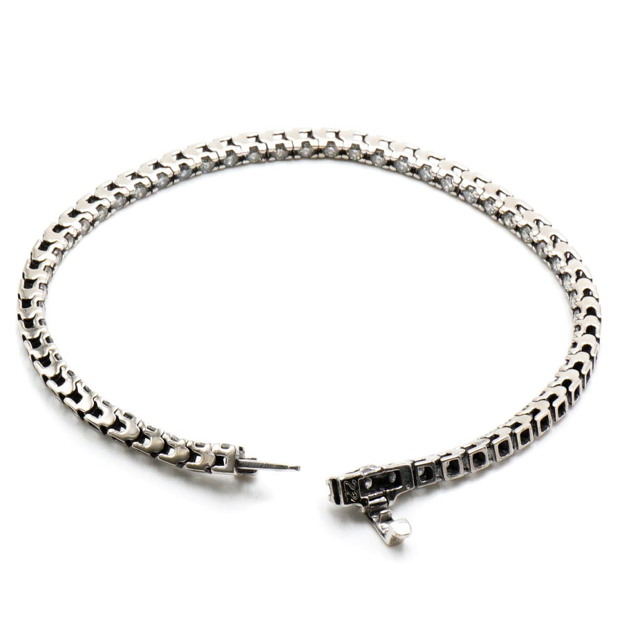 14K White Gold Straight Line Tennis Bracelet W/Diamonds