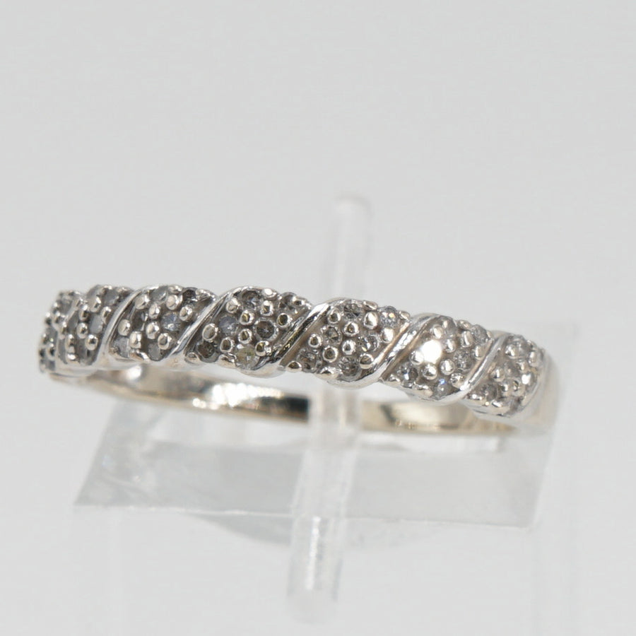 14K White Gold Band with Diamond Accents Size 6