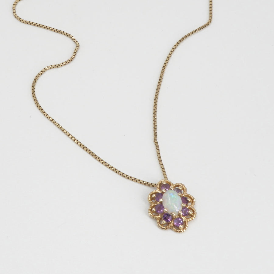 14K Flower Pendant Necklace with Purple and Opalescent Stones