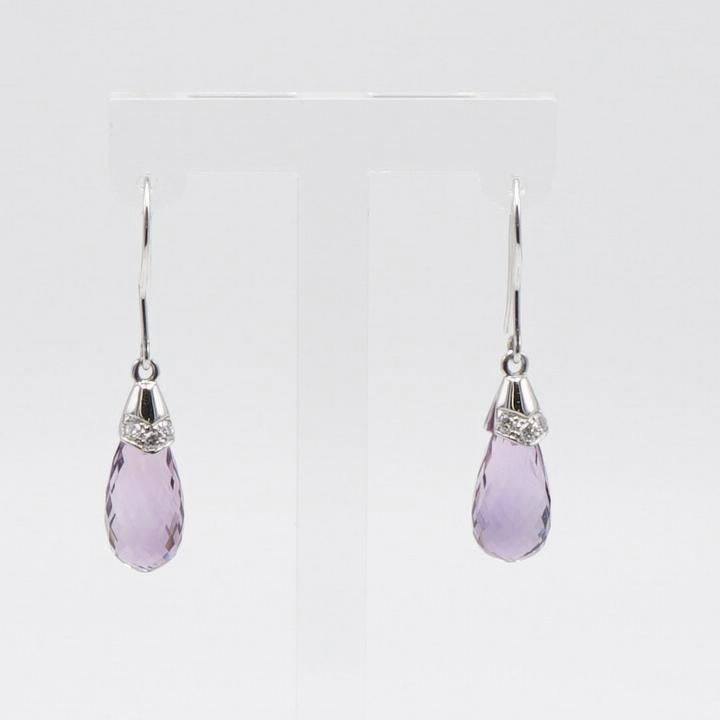 White Gold Amethyst Dangle Earrings with Three Diamonds