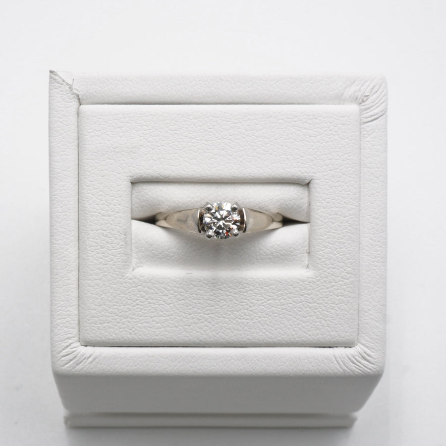 White Gold Solitaire Diamond Ring Size 4.5