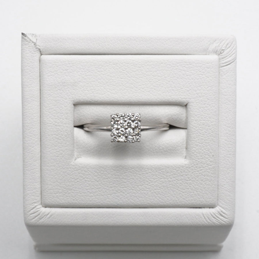 White Gold Square Cluster of Diamonds Ring