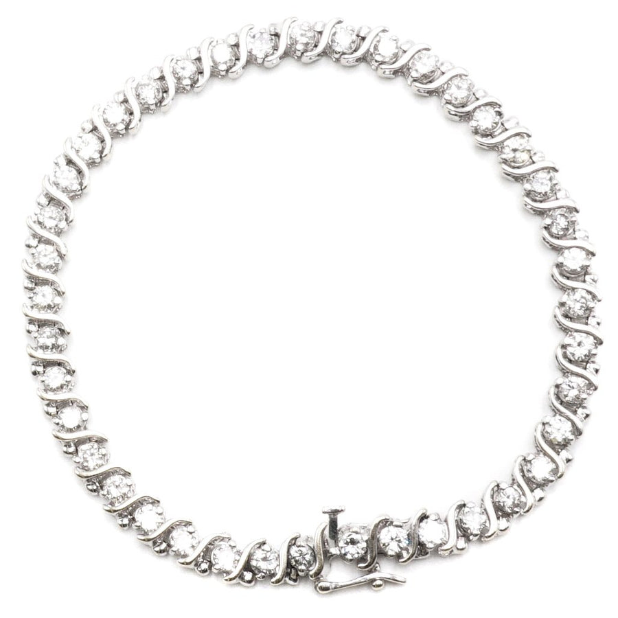 White Gold Diamond S Link Bracelet