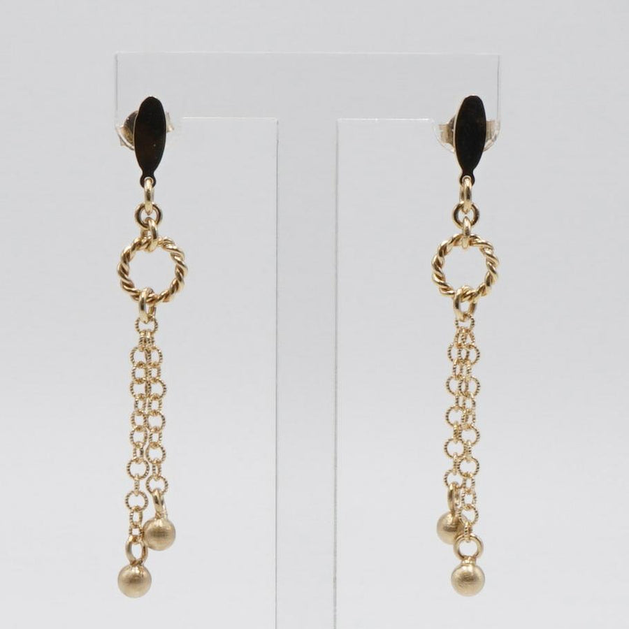 Yellow Gold Balls and Links Dangle Earrings