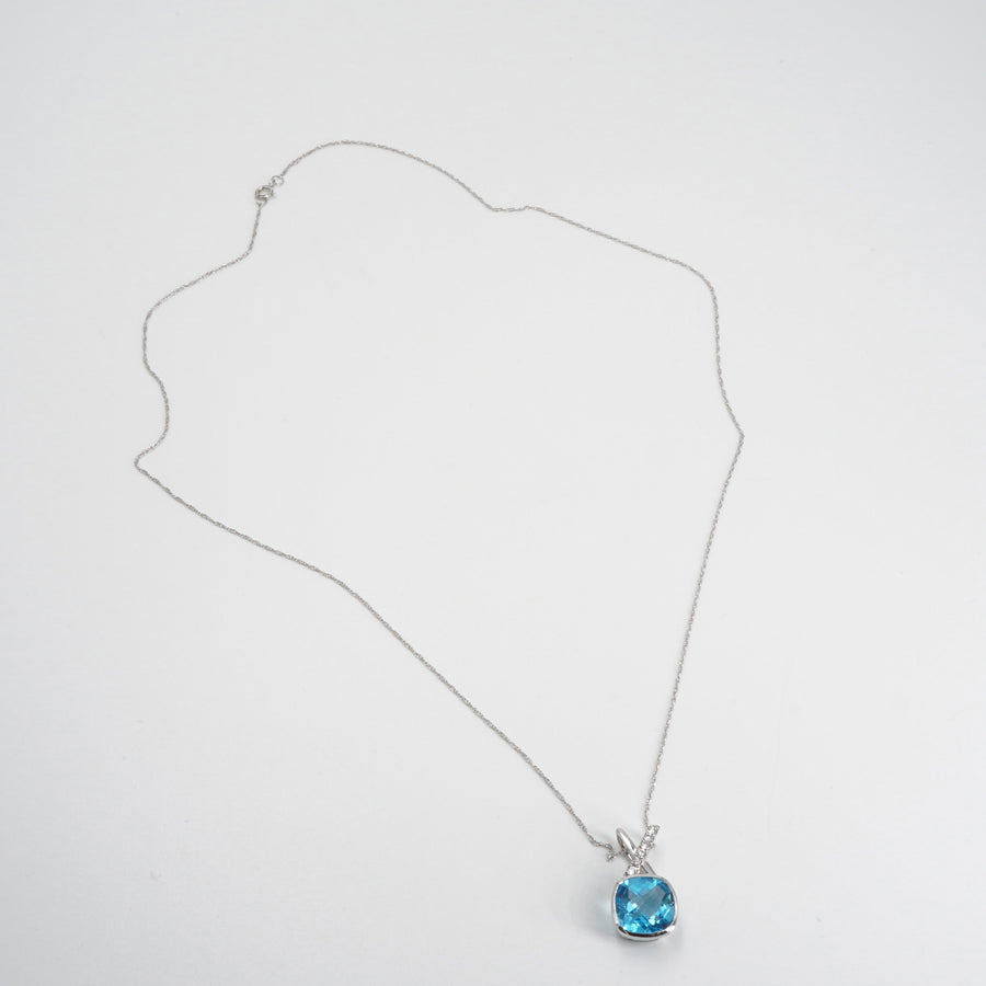 14K White Gold Necklace With Blue Topaz Pendant