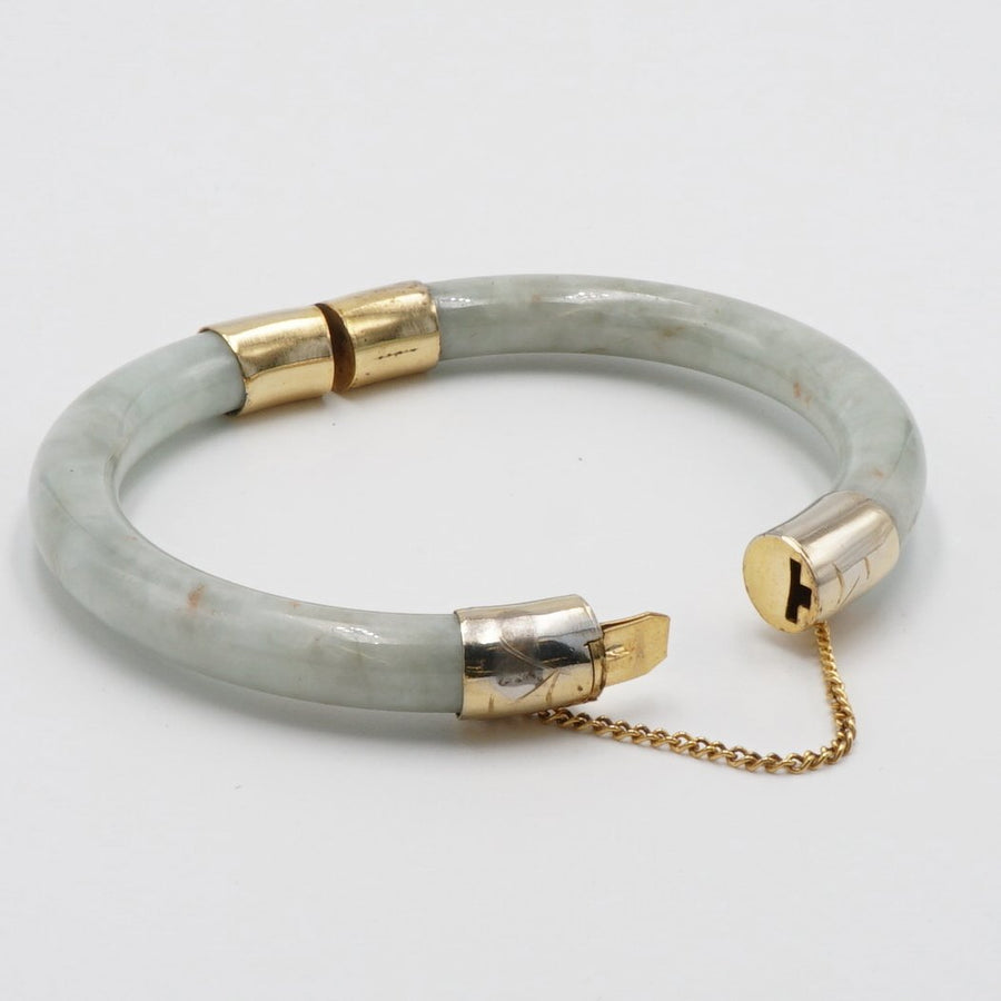 Green Jadeite Jade Bangle with Gold Hinge and Clasp