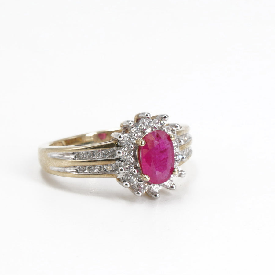 10K Gold Ruby & Diamond Ring - Size 7