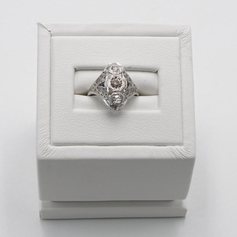 White Gold Art Dec Ring with Brown Diamond and Clear Sapphire Size 3