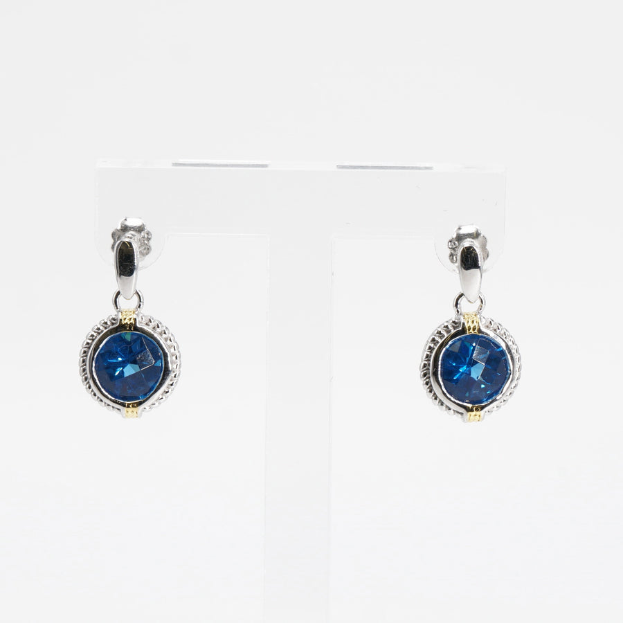 Sterling Silver Synthetic Blue Stone Earrings