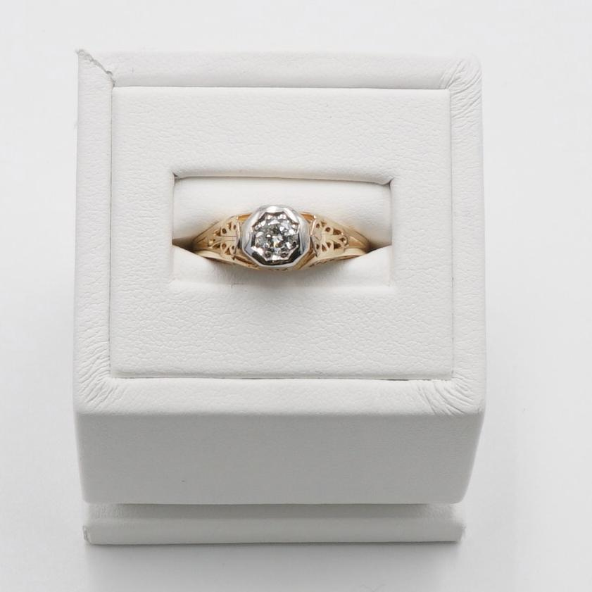 Two Tone Vintage Transitional Cut Diamond Ring Size 8.5