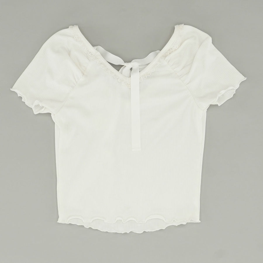 Lace Trim Rib Top